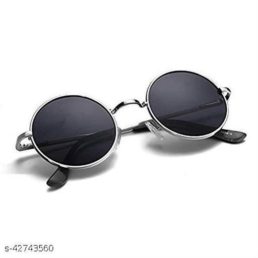 Naygt Men's and Women's Round Sunglasses , Black, Medium