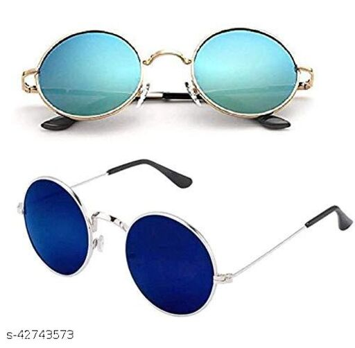 Naygt Round Men's and Women's Sunglasses Combo Pack (Dark Blue and Ocean Blue, Set of 2, Standard)