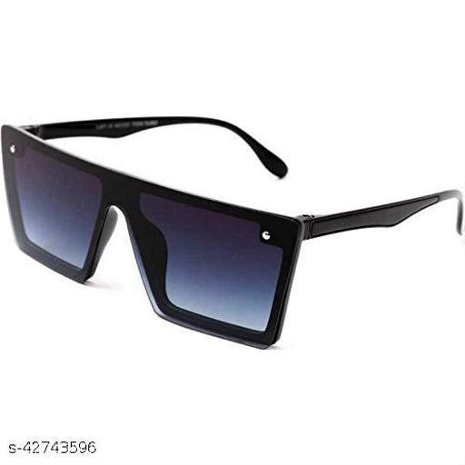 Naygt Flat Design Rectangular Sunglasses for Men & Women (Black)