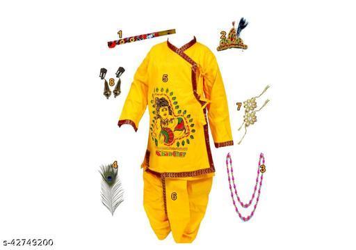 Spack Jerrrow Cotton Krishna Printed Dhoti Kurta Set for  Kid Boys