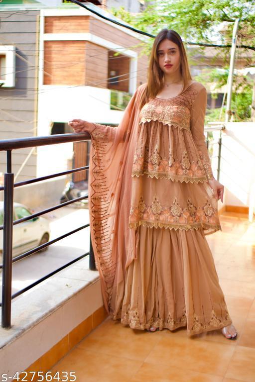 Brown Colour Shara Salwar Kameez With Dupatta Work
