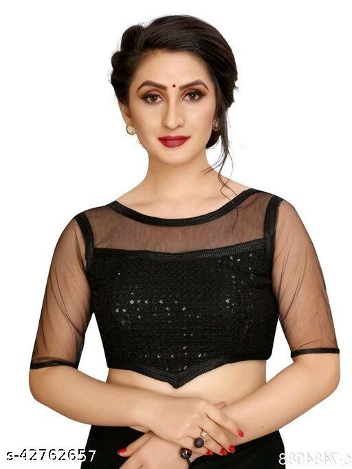Fashion Fort Designer Silk Black Color Embroidery Ready made Blouse Piece