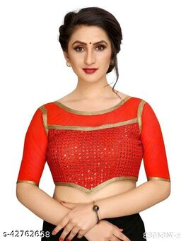 Fashion Fort Designer Silk Red Color Embroidery Ready made Blouse Piece