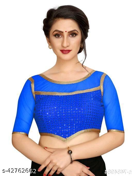 Fashion Fort Designer Silk Blue Color Embroidery Ready made Blouse Piece