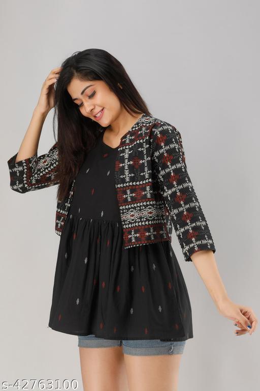 Women's Cotton Black Jackted Kurta