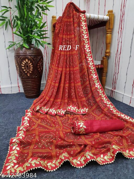 PURE  VATLESS GOTA LACE  Saree with blouse