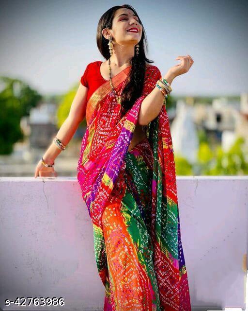 Georgette  bandhaj Satring saree Saree with blouse