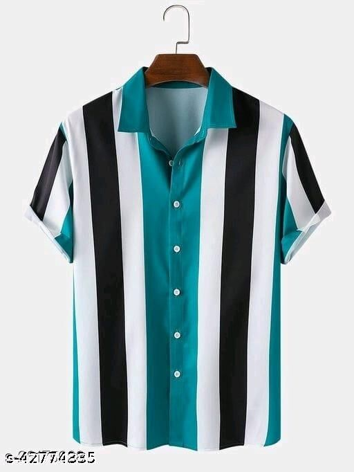 Eye-Catchin Lining Man Printed Rayon Shirt