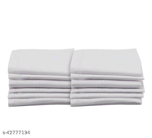Ekshi Men's Cotton White Handkerchief (Pack of 12)