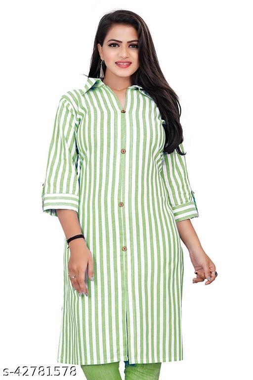 Women Khadi Cotton Striped Kurti (Only Kurti)