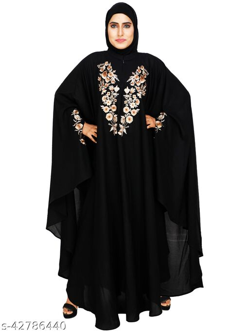 ISLAMIC ATTIRE BLACK EMBROIDERIED KAFTAN STYLE ABAYA
