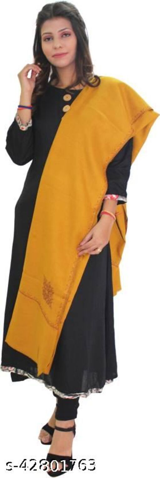 Beautiful embroidery Wool  Shawl for Winters-Yellow