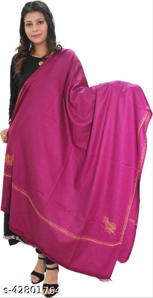 Beautiful embroidery Wool  Shawl for Winters-Purple