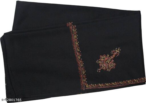 Beautiful embroidery Wool  Shawl for Winters-Black
