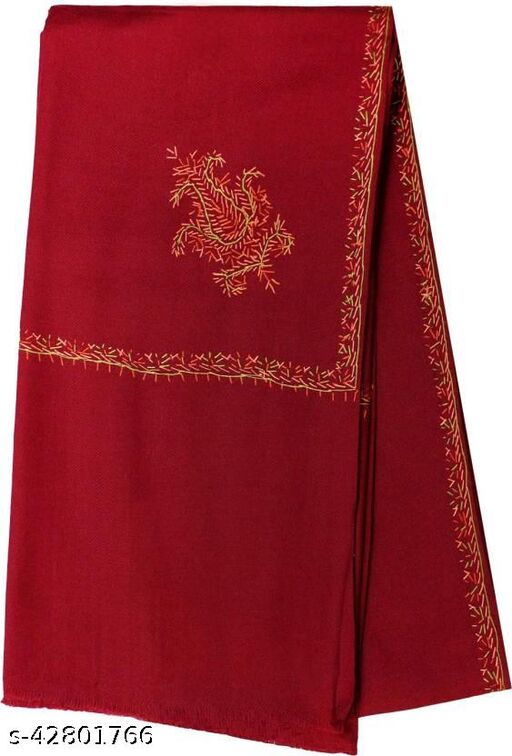 Beautiful embroidery Wool  Shawl for Winters-Maroon