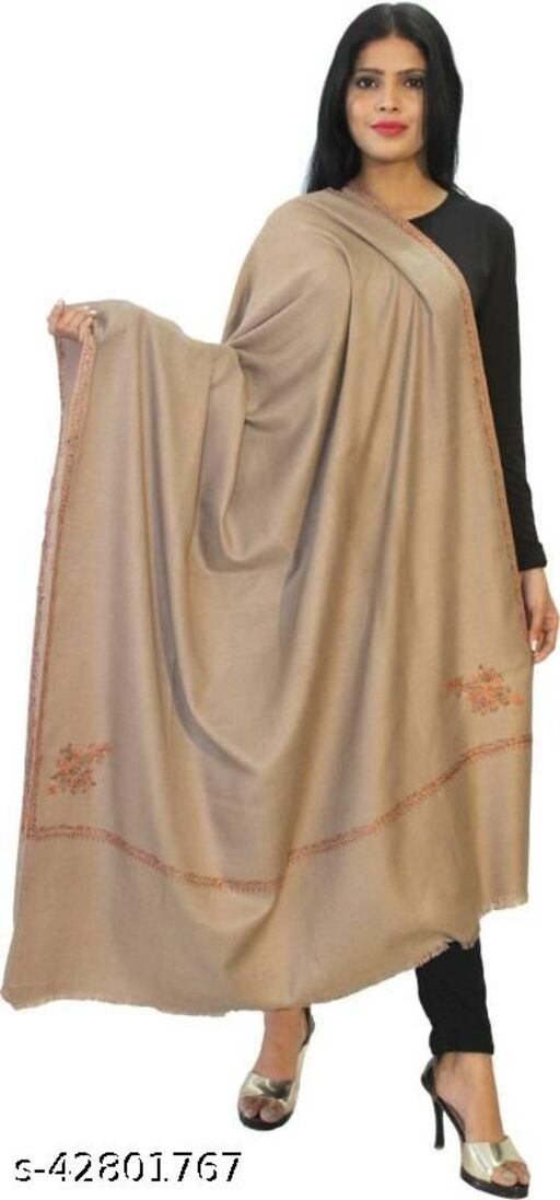 Beautiful embroidery Wool  Shawl for Winters-Beige