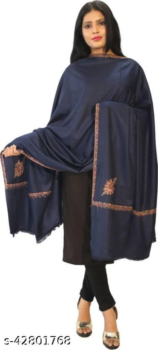 Beautiful embroidery Wool  Shawl for Winters-Navy Blue
