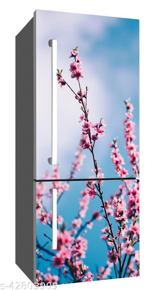 Sky Decal fridge sticker beautiful tulip pink flower hd wallpaper/poster for fridge double single door decorative sticker (pvc viny)