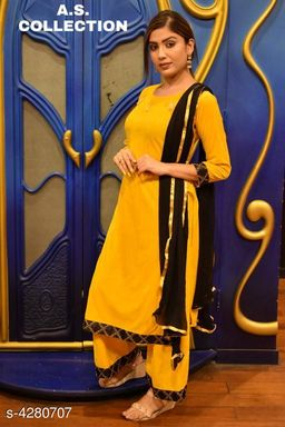 Women Velvet A-line Solid Long Kurti With Palazzos And Dupatta