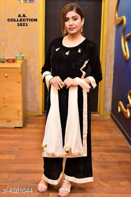 Women Velvet A-line Solid Long Kurti With Palazzos