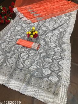 Kimisha Women's Peach Lycra Embroidered Saree