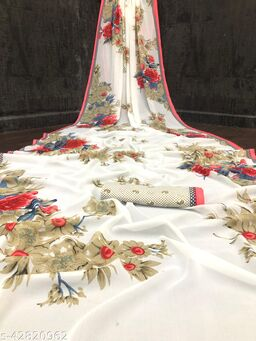 Kimisha Women's Off White Georgette Floral Printed Saree