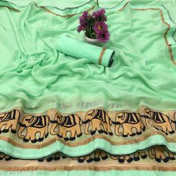 Kimisha Women's Green Chiffon Embroidered Saree