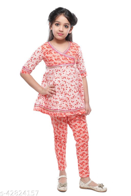 Little Dreams Cotton Anakali Set Top And Pyjama For Baby Girls