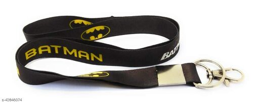 Caballo Batman Logo Fabric Hook Keyring Keychain for Bikes,car ,Lanyard Id Card Holder, etc. (Black)