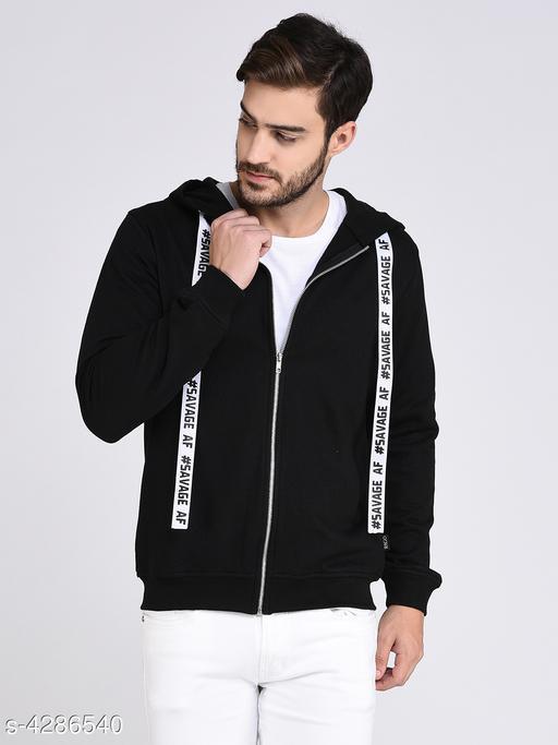 Rigo Black Fleece Hooded With Front Zip Open Sweatshirt-Full