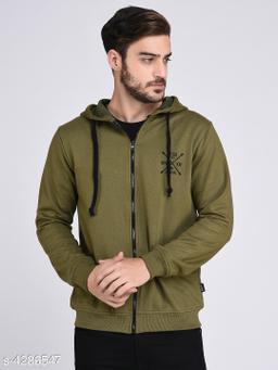 Rigo Olive Green Fleece Hooded With Front Zip Open sweatshirt-Full