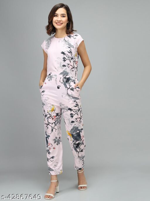 Elizy Women Beige Color Graphic Printed Jumpsuit