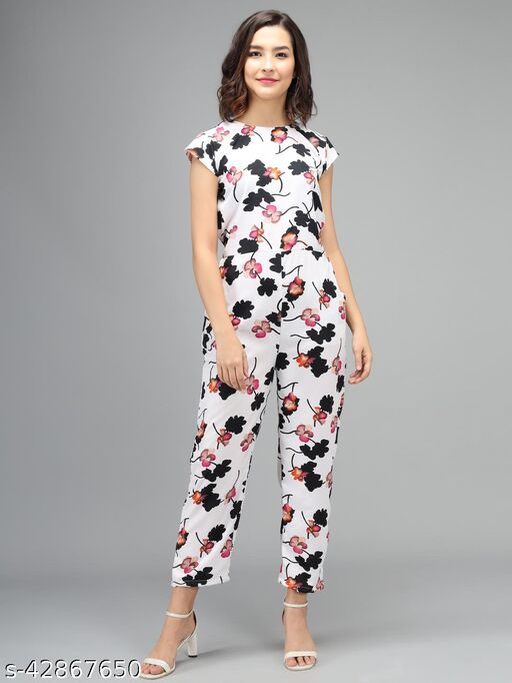 Elizy Women White Color Black Flower Printed Jumpsuit