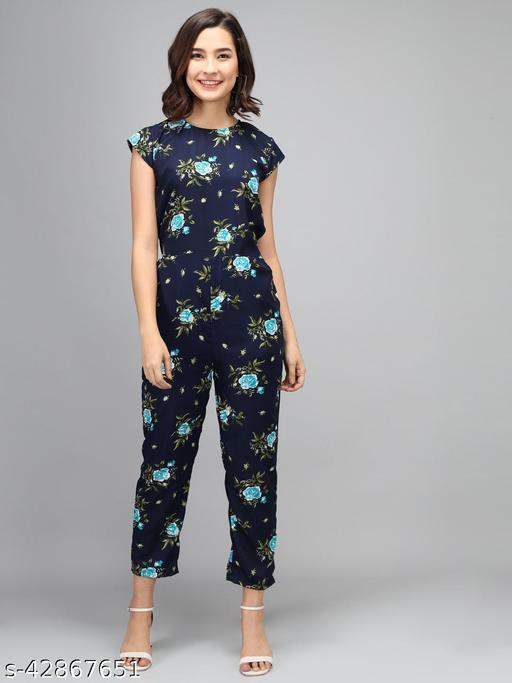 Elizy Women Nevy Color Sky Blue Flower Printed Jumpsuit
