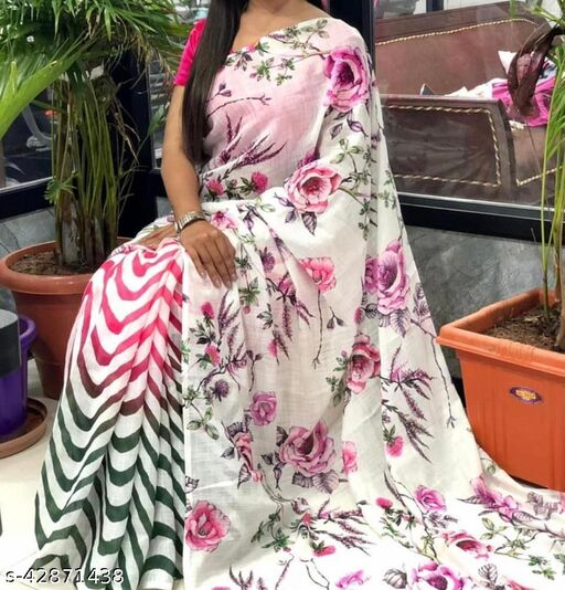 Sai Enterprise Launching New Amazing Printed Saree In chanderi Cotton Fabric With Blouse Piece