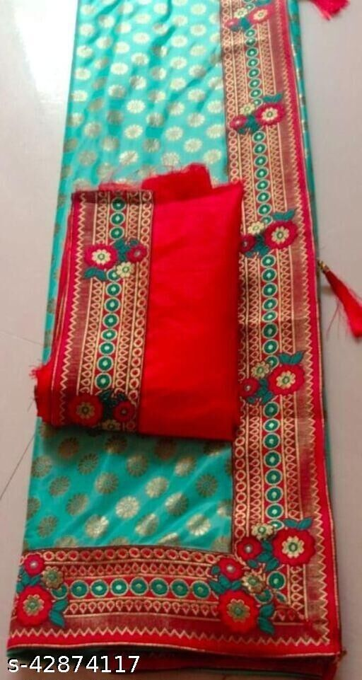 Av Creation Women's Malai Silk Wedding Saree With Blouse Peach Green Color