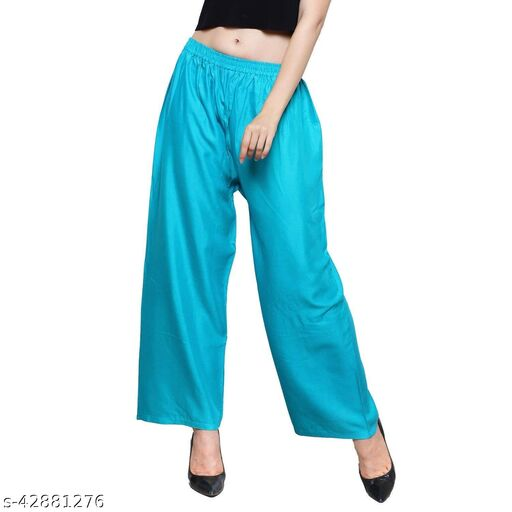 Women's & Girl's Loose/Relaxed/Regular Fit Rayon Palazzo Pants,Single
