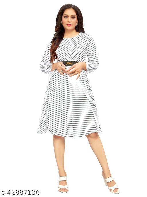 Ritsila Women White Color Striped Lining Print , Knee- Length 3/4 Sleeve Dress
