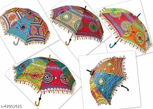 Beautiful Embroidery Design Multicolor Sun Protection Rajasthani Handmade Cotton Fabric Decoration Umbrella.Combo 5