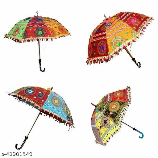 Beautiful Embroidery Design Multicolor Sun Protection Rajasthani Handmade Cotton Fabric Decoration Umbrella,combo 4