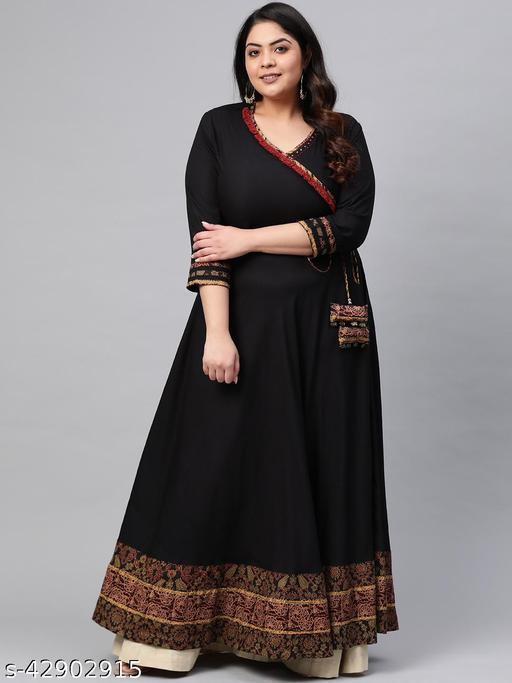 Akiko Women's Plus Size Rayon Printed Angrakha Style Anarkali Kurta (Black)