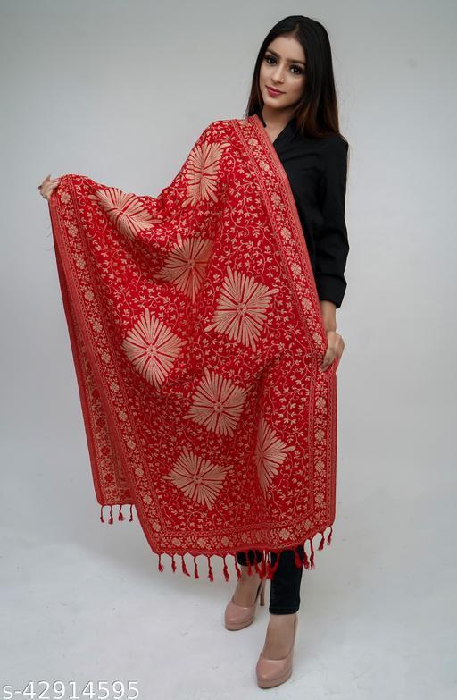Women Floral Designer Border, Kashmiri Wool blend Stole