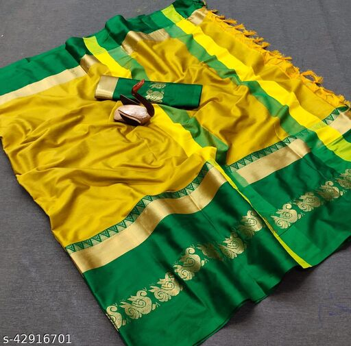 Umantra Dainty Yellow And Green Color Soft Silk Saree With Zari Border Pattern