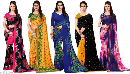 Combo of 5, Printed, Daily Wear, Georgette Sarees with Blouse Piece