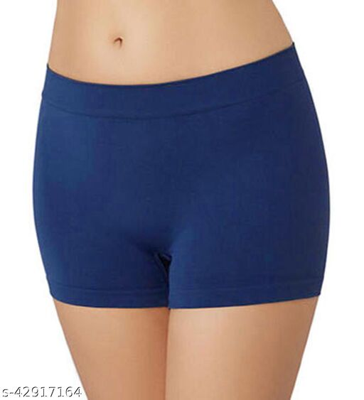 Women Bikini Blue Cotton Blend Panty