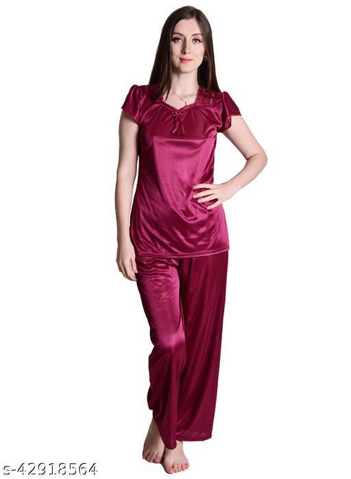 Nightdoll Wine Satin Nightwear Night Suit Top & Pajama Set