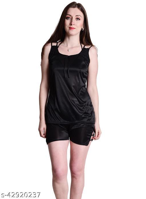 Senslife® Black Satin Nightwear Top & Shorts Set