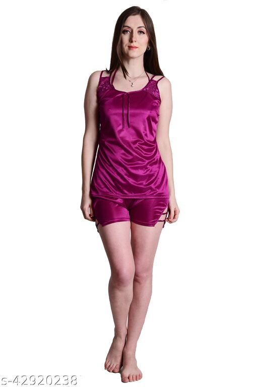 Senslife® Wine Satin Nightwear Top & Shorts Set
