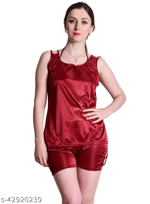 Senslife® Maroon Satin Nightwear Top & Shorts Set