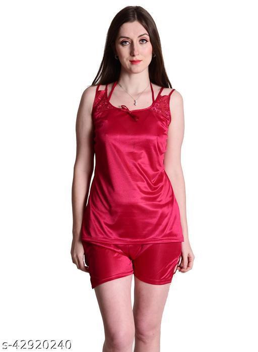 Senslife® Red Satin Nightwear Top & Shorts Set
